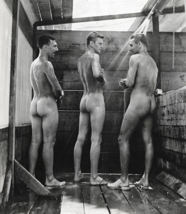 "Men taking a shower together from the book ""My Buddy. World Wa"