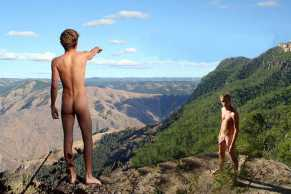 2 nude hikers in mtns